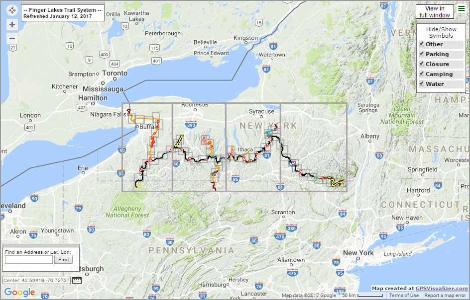 Map Of Finger Lakes Interactive Trail Map For Finger Lakes Trail (Segmented)