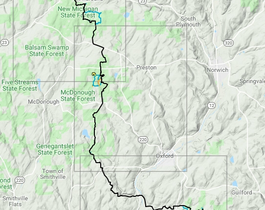 Terrain map overview of Chenango County