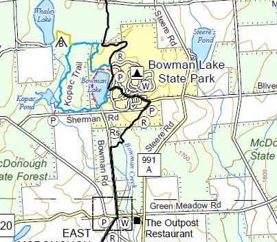 Bowman Lake State Park Finger Lakes Trail Map Example