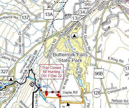 Buttermilk Falls State Park Finger Lakes Trail Map Example